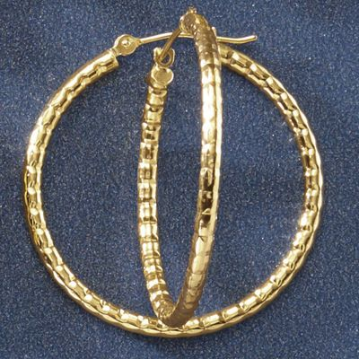 10K Gold Ribbed Round Hoops