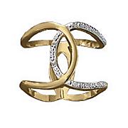 white diamond interwoven open loop ring