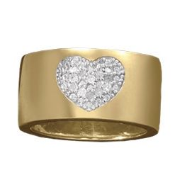 White Diamond Wideband Heart Ring