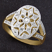 white diamond oval filigree ring
