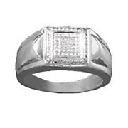 men s white diamond square ring