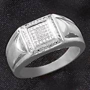 men s white diamond square ring