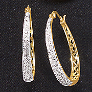 white diamond tapered hoops