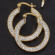 white diamond flat hoops
