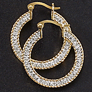 white diamond flat hoops