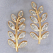 white or black diamond leaf post earrings