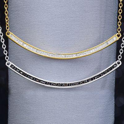 White or Black Diamond Bar Necklace