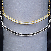 white or black diamond bar necklace