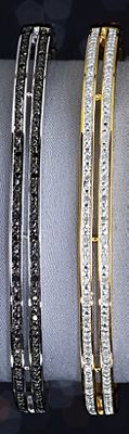 White or Black Diamond Bar/Bangle Bracelet
