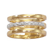 white or black diamond tri bar ring