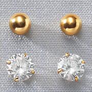 2 pair gold ball post earring set
