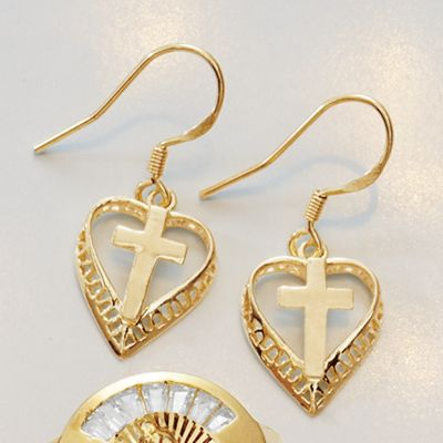 Heart/Cross Earrings