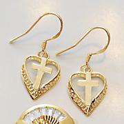 heart cross earrings