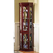 lit mirrored corner curio