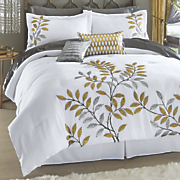 gilded leaf comforter set and accent pillows