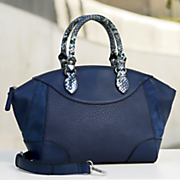 snake print handle satchel by sondra roberts