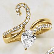 cubic zirconia pear swirl ring
