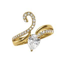 Cubic Zirconia Pear/Swirl Ring