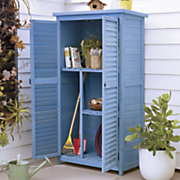 blue wooden garden shed