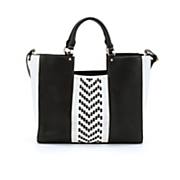 woven chevron tote with crossbody bag