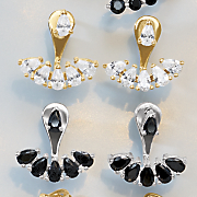 cubic zirconia post jacket earrings