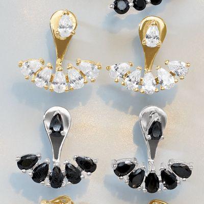 Cubic Zirconia Post/Jacket Earrings
