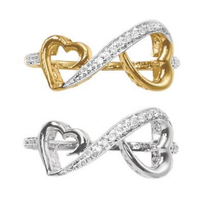 10K Gold Diamond Heart/Infinity Ring