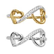 10k gold diamond heart infinity ring