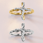 10k gold diamond cross ring