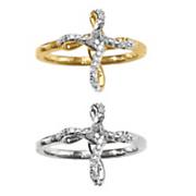 10k gold diamond cross ring