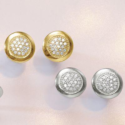 10K Gold Diamond Cluster Round Post Earrings
