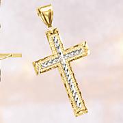 10k gold two tone cross pendant