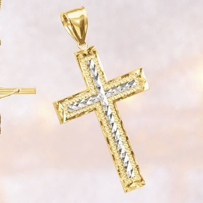 10K Gold Two-Tone Cross Pendant