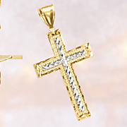10k gold two tone cross pendant