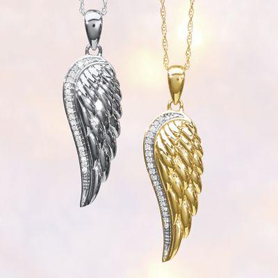10K Gold Diamond Angel Wing Pendant