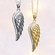 10k gold diamond angel wing pendant