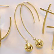 14k gold ball wire drop earrings