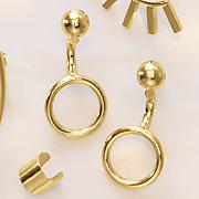 10k gold circle post drop earrings