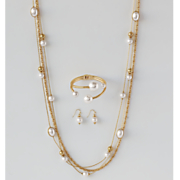 Faux Pearl Necklace Earring Set and Cuff 2017
