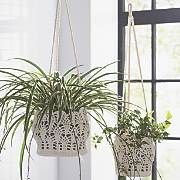 set of 2 crochet hanging storage baskets