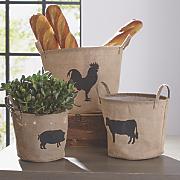 set of 3 farmhouse storage baskets