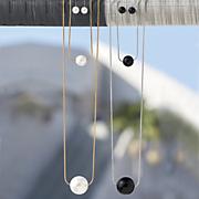 faux ball long necklace earring set