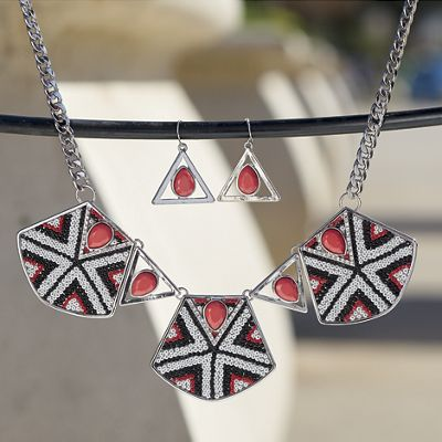 Red/White/Black Bead Necklace/Earring Set
