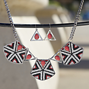 red white black bead necklace earring set