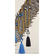 Wood Bead Color Fringe Necklace
