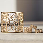 scroll 3 rings cuff bracelet set