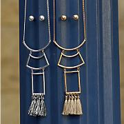 geo fringe long necklace earring set