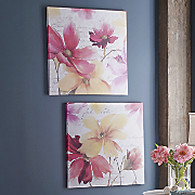flower print canvas with writing