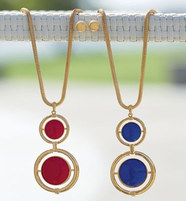 Double/Round Goldtone Necklace/Earring Set