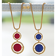 double round goldtone necklace earring set